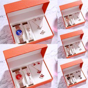 NEW Fashion Women Elegant Multi-Layer Bracelet Quartz Watch Alloy Crystal Love Letter Band Wristwatch Set Jewelry Gifts Valentine Gift FR#949