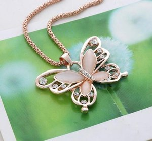 DHL Fashion Women butterfly Necklace Pendent Rose Gold nx Butterfly diamond Opal Pendant Exquisite Sweater Chain Necklace 60cm