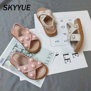 Yaz Bebek Plaj Sandalet Çocuk İnci Prenses Sandalet Kız bebekler üzerinde Marka Ayakkabı 2020 Mesh Moda Sweet Yeni Kayma