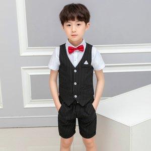 Kids 2PCS Vest+Shorts Clothing Set Gentleman Wedding Dress Party Wear Boys Formal Suit Children's Day Graduation Tuxedo Costume