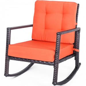 Cushioned Rattan Rocker Schaukelstuhl Sessel Stuhl Außenpatio Glider Lounge Weidenstuhl Möbel mit Kissen
