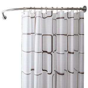 Shower Curtain Set Hole-Free Curved Telescopic Bathroom Shower Curtain Rod Waterproof Bathroom Thickened Partition Curtain Cloth