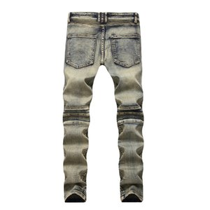 2019 Newsosoo New Fashion Mens Retro Biker Jeans Slim Fit Straight Vintage Pleated Motorcycle Denim Trousers For Male Size 29-38 wholesale