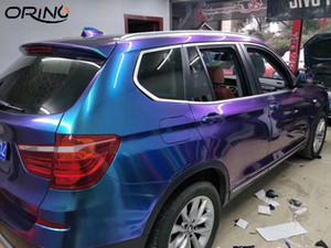 Gloss Хамелеон Винил Wrap Глянцевая Metallic автомобиля пленка Упаковочная фольга фиолетовый синий Растягиваемые воздуха релиз DIY Таблички размер 1.52x20M 5x65FT