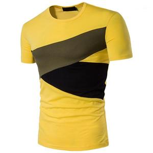 Tees Mode Kontrast Farbe Tshiets beiläufige Mannschaft Hals Kurzarm-T-Shirts Herren-Bekleidung Designer Herren Panelled