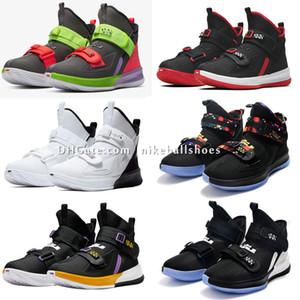 Леброн Солдат 13 Черный Белый Фиолетовый Мужская Женщины Баскетбол обувь Детские Мальчики L13 High Cut Мужчины Дизайнерская обувь Спорт Тренер Размер US4-12