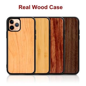 Para Iphone 11 Pro Max X Caso XS XR Max Madera de bambú real cajas de madera de la contraportada de TPU Con prueba de golpes