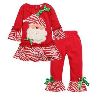Children girls spring autumn Christmas costumes clothing sets children suit set cartoon Santa Claus