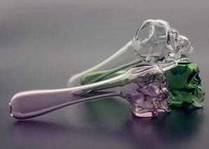 QBsomk Nouveau design 4 pouces 5 couleurs crâne verre cuillère pipes verre main tuyau pipe à eau pipe pour herbe sèche cadeau
