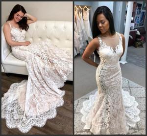 2019 nouvelles robes de mariée sirène élégantes dentelle pure au cou appliques robes de mariée trompette grande taille robe de mariée en tulle discount