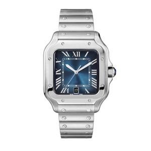 Clássico relógio mecânico automático CAR SANTO WSSA0013 homens e mulheres par o relógio do quadrado do aço inoxidável mostrador azul pulseira de safira relógio de pulso