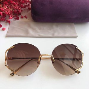 Newest quality metal hollow round rimless G0645S sunglasses for women lightweight HD UV400 gradient lenses 57-18-130 with fullset case