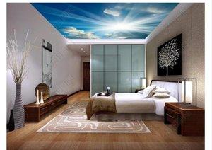 3D Зенит фреска фото пользовательские обои оформление интерьера голубое небо белые облака солнечный гостиная спальня Зенит потолок фреска