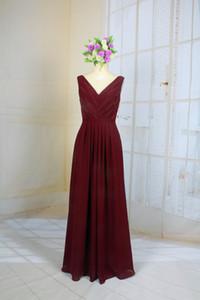 Burgandy V hattı Sequins Basit gelinlik giydir A Hattı Zemin Uzunluğu Uzun Abiye Basit Mezuniyet Homcoming Elbiseler