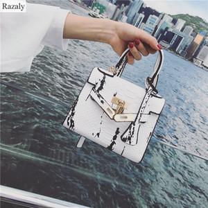 Diseñador- Razaly marca de alta calidad bolso de la cerradura de oro piel de serpiente cadena de cuero pequeños bolsos de diseño señoras satchels noche mensajero 2019