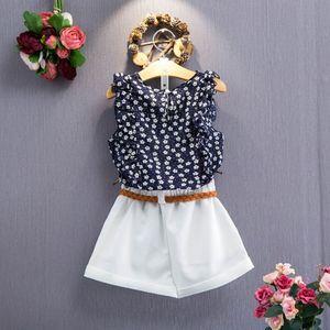 Nouveaux été short t-shirt sans manches floral de filles de costume pour enfants avec mode sport costume ceinture occasionnels vêtements pour enfants