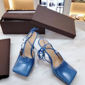 Kadın ayakkabı topuklu pompalar kayış slingback sandalet moda lüks tasarımcı kadın ayakkabı yüksek topuklu tasarımcı sandalet yüksek topuklu deri terlik