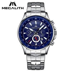 Megalith Moda Relógios Para Mens Chronograph Waterproof Calendário Sports Business Relógios Clássico relógio do aço inoxidável