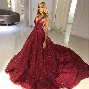 Modest A Linha Borgonha Full Lantejoula Formal Vestidos de Noite 2019 V Neck Aberto de Volta Sem Mangas Compridas Prom Vestidos BC0714