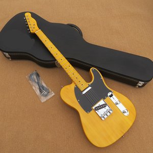 New! High quality yellow guitar, black guard board, maple finger board, good quality hardware, free delivery, welcome custom.