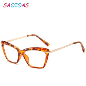 SAOIOAS Fashion Transparent Suqure Glasses Clear Frame Vintage Cat Eye Women Spectacle Eyewear Frame Nerd Optical Frames Clear