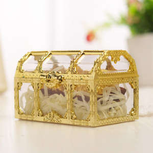 Gold Treasure Chest Candy Box Wedding Favor Mini Gift Boxes Food Grade Plastic Transparent Jewelry Storage Case