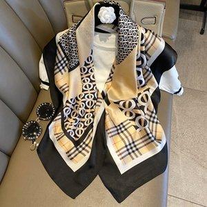 Season Simulation New 90cm square fashion versatile imitation silk thin scarf multi-functional foreign style shawl scarf