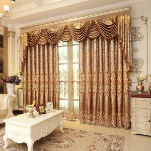 1PC Pelmet 유럽 왕 거실 창을 위한 호화스러운 밸런스 커튼 침실 Tulle 자카드 직물 커튼 T200323 를 위한 황금 커튼