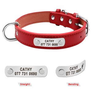 2020 PU Leather Dog Collar Durable Padded Personalized Pet ID Collars Customized for Small Medium Large Dogs Cat Red Black Brown 070402
