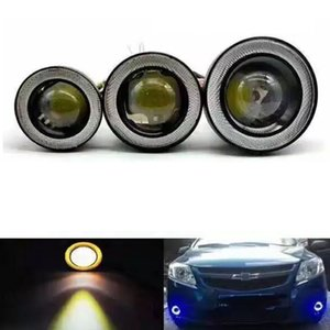 Car COB 1200LM 30W Light LED Fog Light White Angel Eye DRL Driving Projector Signal Bulbs Fog Lamps Auto Tuning Car Lamp