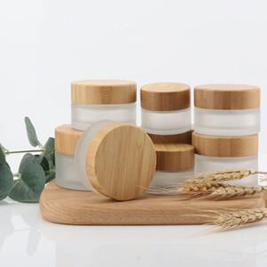 15g / 30g / 50g Eco natürliche Bambusholz Lids Mattglas-Flasche Reiseset DIY Kräuter Probe Gesichtscreme Jars Pot leeren kosmetischer Behälter
