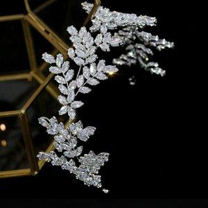 ASNORA 2020 новые высококачественные свадебные аксессуары для волос 3A CZ leaf hair band свадебная корона выпускной парад головной убор A00735