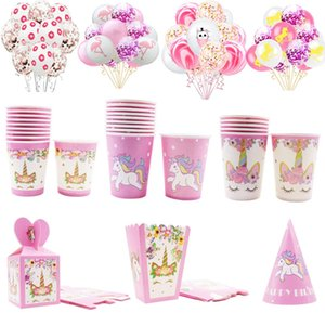Sevimli Pembe Balonlar Unicorn Disposable Sofra kağıt bardak Tabak Boy Kız Bebek İlk Doğum Günü Partisi Düğün Dekorasyon Malzemeleri