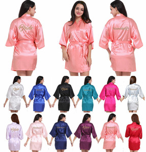 Mode Robe De Soirée De Mariée Lettre Mariée Sur La Robe Retour Femmes Court Satin De Mariée Demoiselle D'honneur Mère Robes Kimono Vêtements De Nuit Spa Robes