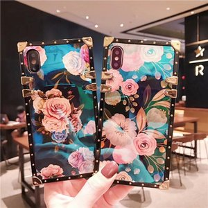 For iphone 11 Pro Max 12 Mini Luxury Blue Ray Flower square Back Cover Soft Flower Phone case for iphone 7 8 6 6S plus X XR XS Max