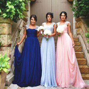 Abiti da damigella d'onore economici Cap Sleeve Pizzo Appliques Summer Beach Beads Pink Chiffon Long Wedding Guest Wear Maid of Honor Abiti formali