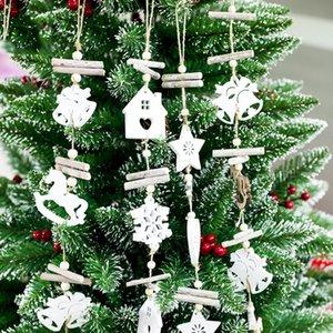 عيد الميلاد الإبداعية الحرف الخشبية عيد الميلاد شجرة الخشب أجراس قلادة ندفة الثلج جوفاء الديكور الحبل دروبشيبينغ