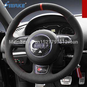 Per Audi A3 di alta qualità cucita a mano antiscivolo in pelle scamosciata nera filetto volante volante fai da te