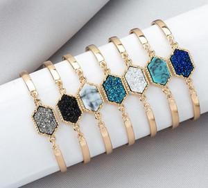 progettista di lusso Druzy filo braccialetto faux dei braccialetti di fascino di pietra naturale geometrici per le donne s regalo gioielli di moda GB1181