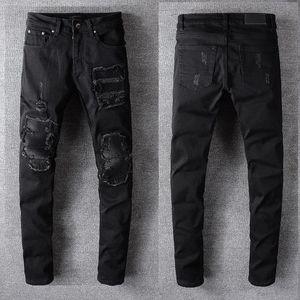 19SS Berühmte Herren Designer Jeans Männer Frauen Marke Distressed zerrissene Jeans Herren Motorradfahrer dünne dünne Jeans-Hosen-Klassiker