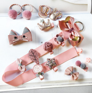 18 pz / lotto Baby girl clip per capelli set nastro bow-nodo corona barrettes bambini boutique accessori per capelli accessori per capelli richiudi