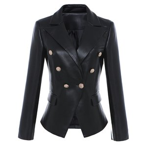 High Quality PU Leather Suit Blazers Women Lion Head Buttons Formal Office Lady Fashion Leisure Slim Jacket Coat Work Wear P782