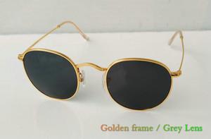 epacket جودة عالية للرجال أزياء النساء نظارات شمسية مستديرة معدنية تقليدي نظارات شمس زجاج العدسات نظارات 1PCS / lot أسود حالة اللون.