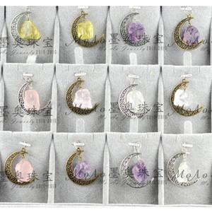 collar de cristal de piedra natural tiempo cielo estrellado COLGANTE DE GEM Luna irregular Vintage bellamente colgante collar de luna Joyería de cristal de cuarzo