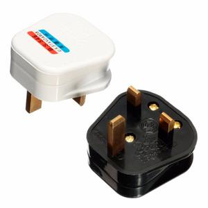 Blanc Noir Mise à la terre 3 broches 250V UK 13A British Mains Plug 3 broches Adaptateur avec fusible Connecteur de câble POWER Convertisseur de fil UK Plug Electrical Plug