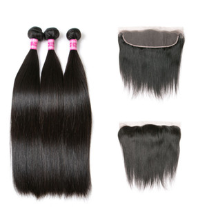 Malaysian Straight Hair 13X4 Lace Frontal With Bundles 3 Remy Human Hair Bundles With Closure Free Part Natural Jet Black