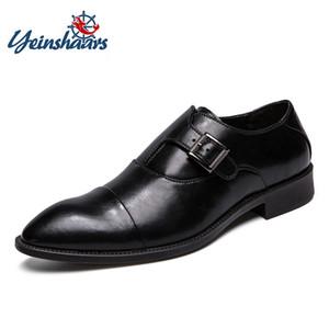 YEINSHAARS Tamaño 38-47 Hombre Casual Inglaterra Hombre Punta estrecha Zapatos de cuero de negocios Ligero transpirable antideslizante zapatos de vestir
