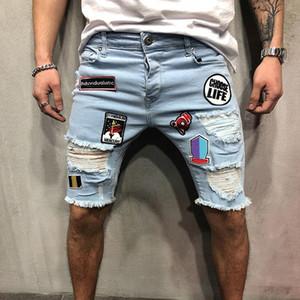 Il nuovo modo Mens Stylist denim Shorts Moda estate Zipper Hole Breve Mens Slim Pantaloni di Hip Hop del bicchierino del Mens dei jeans blu