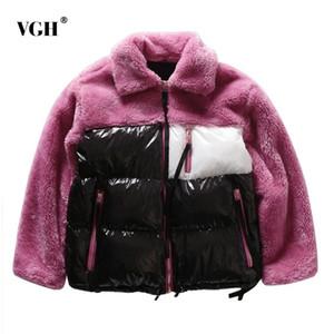 VGH Patchwork Abrigo de Lana Chaquetas de Mujer Solapa Manga Larga Cremallera Grueso Caliente Abrigo Corto Moda Streetwear de las mujeres