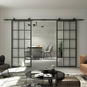 Новый интерьер Черный алюминиевый подставил Французская панель Barn Door Clear закаленное стекло Раздвижные двери Barn Slab Современное стекло шторок (разобранный)